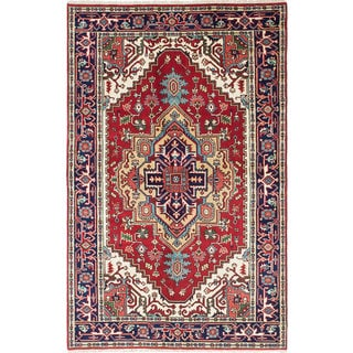 ecarpetgallery Hand-Knotted Serapi Heritage Blue, Red Wool Rug (4'10 x 7'8)