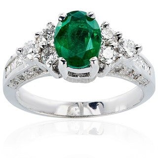 14k White Gold Emerald Diamond High-Polished Ring