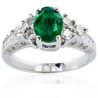 14k White Gold Emerald Diamond High-Polished Ring - Green