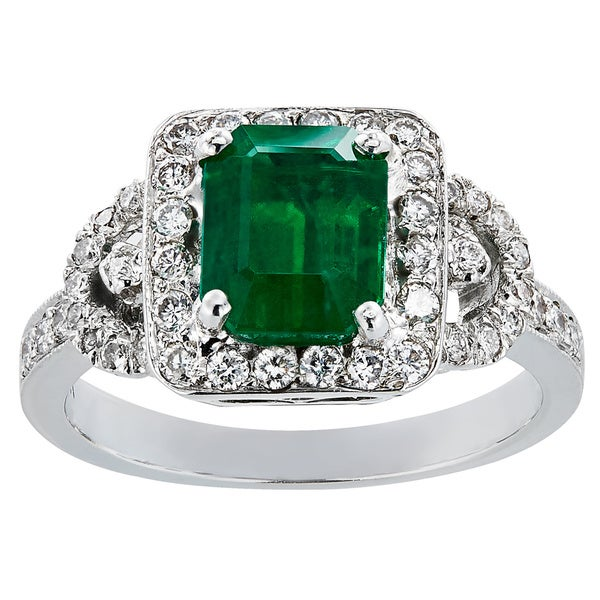 18k White Gold Emerald Diamond High-polished Ring