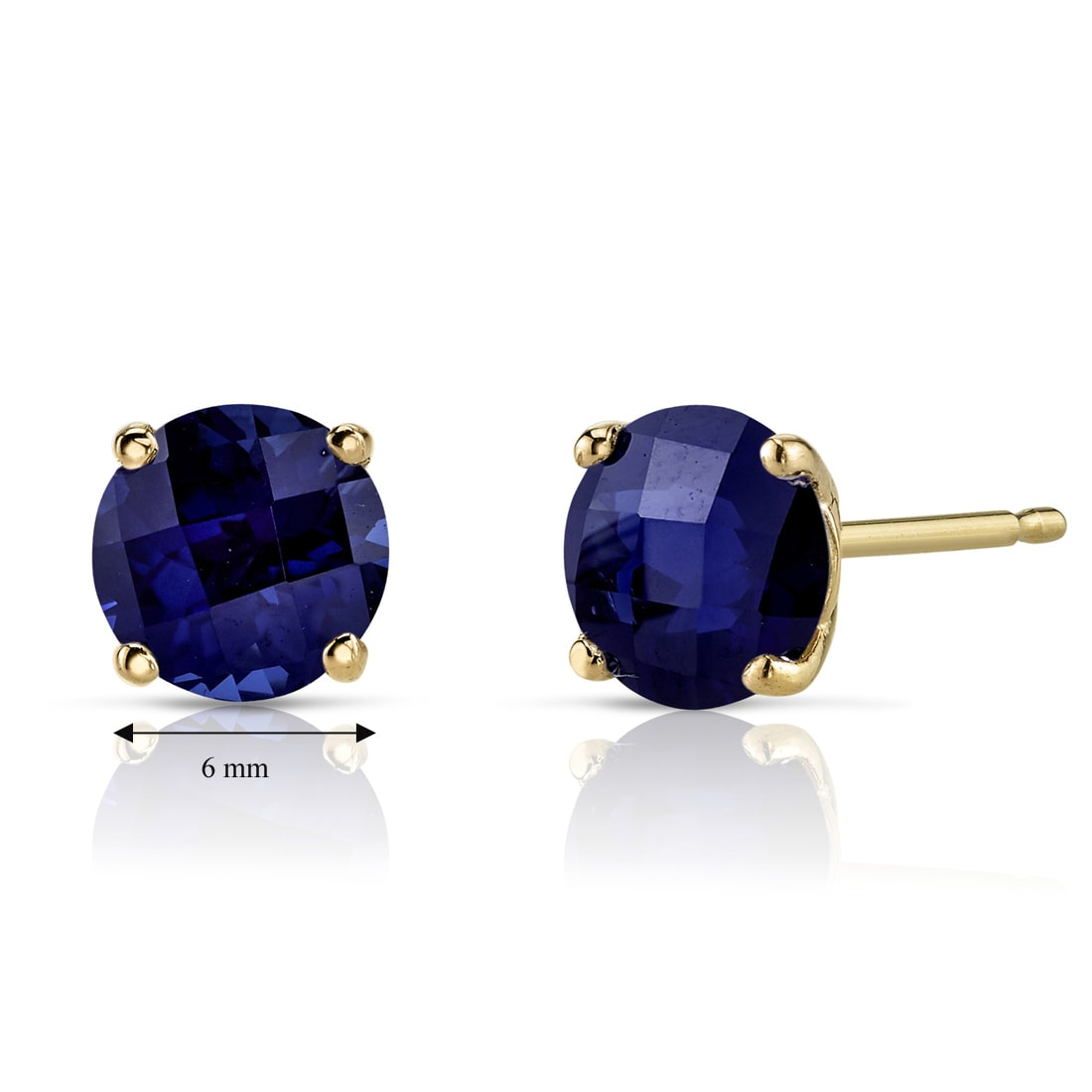 14Kt White Gold 2 Ct Created Blue Sapphire 6mm Bezel Round Stud Earrings