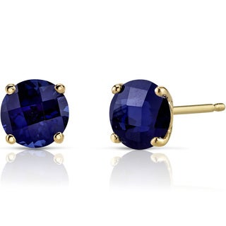 Oravo 14k Yellow Gold 2 1/4ct TGW Created Blue Sapphire Round-cut Stud Earrings