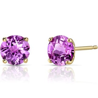 Oravo 14k Yellow Gold 2 1/4ct TGW Created Pink Sapphire Round-cut Stud Earrings