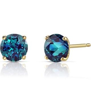 Oravo 14k Yellow Gold 2ct TGW Created Alexandrite Round-cut Stud Earrings
