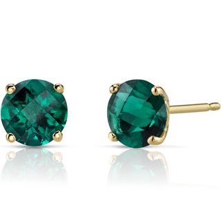 Oravo 14k Yellow Gold 1 1/2ct TGW Created Emerald Round-cut Stud Earrings