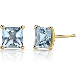 Oravo 14k Yellow Gold 1 3/4ct TGW Aquamarine Princess-cut Stud Earrings