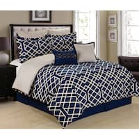Porch & Den Ruffner Navy Blue and White 8-piece Trellis Comforter Set