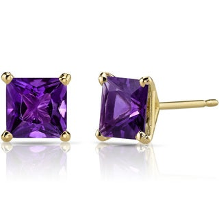 Oravo 14k Yellow Gold 2ct TGW Amethyst Princess-cut Stud Earrings