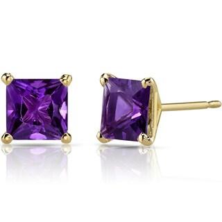 Oravo 14k Yellow Gold 2ct TGW Amethyst Princess-cut Stud Earrings