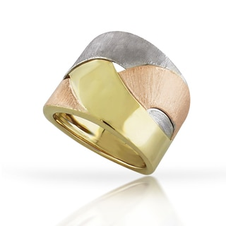 14k Yellow Gold Fancy Tri-Color Braided Super Light Italian Ring Size 7