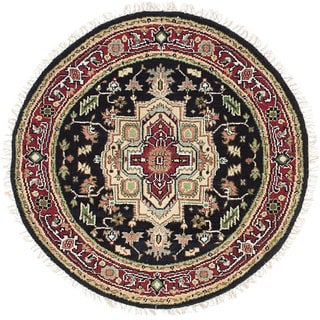 ecarpetgallery Hand-Knotted Serapi Heritage Black, Red Wool Rug (4'0 x 4'0)