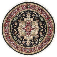 ecarpetgallery  Hand-Knotted Serapi Heritage Black, Red  Wool Rug (4'0 x 4'0) - 4'0 x 4'0