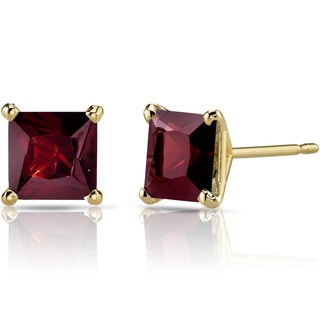 Oravo 14k Yellow Gold 2 3/4ct TGW Garnet Princess-cut Stud Earrings