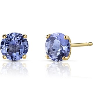 Oravo 14k Yellow Gold 1 1/2ct TGW Tanzanite Round-cut Stud Earrings