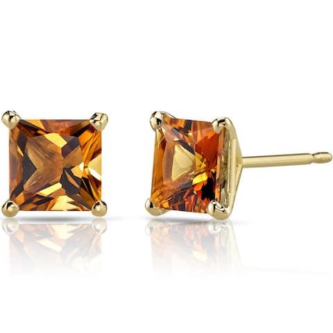 Oravo 14k Yellow Gold 2ct TGW Citrine Princess-cut Stud Earrings