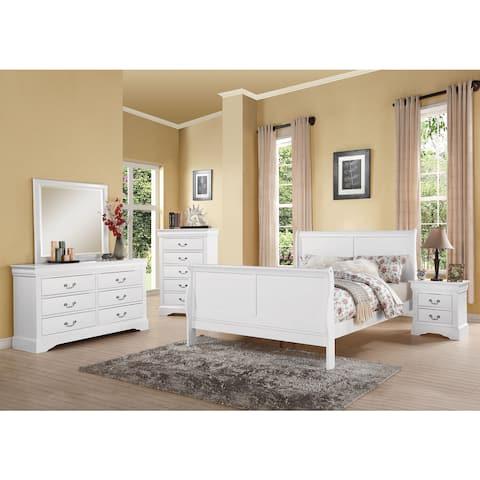 Acme Furniture Louis Philippe III White 4-piece Bedroom Set