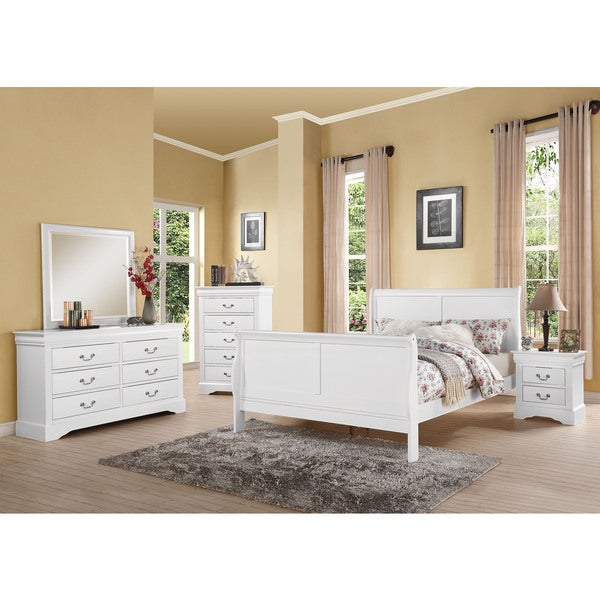 Acme Furniture Louis Philippe III White 4 Piece Bedroom Set