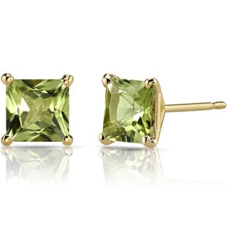 Oravo 14k Yellow Gold 2ct TGW Peridot Princess-cut Stud Earrings