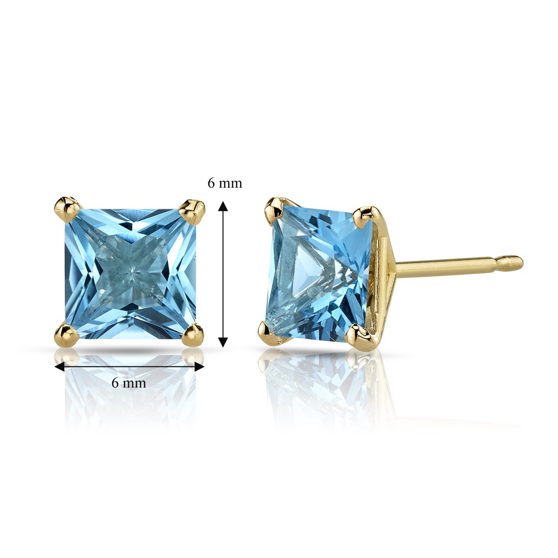 Real 14kt Yellow Gold 6mm Blue Topaz Earrings