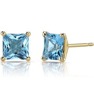 Oravo 14k Yellow Gold 2 1/2ct TGW Swiss Blue Topaz Princess-cut Stud Earrings