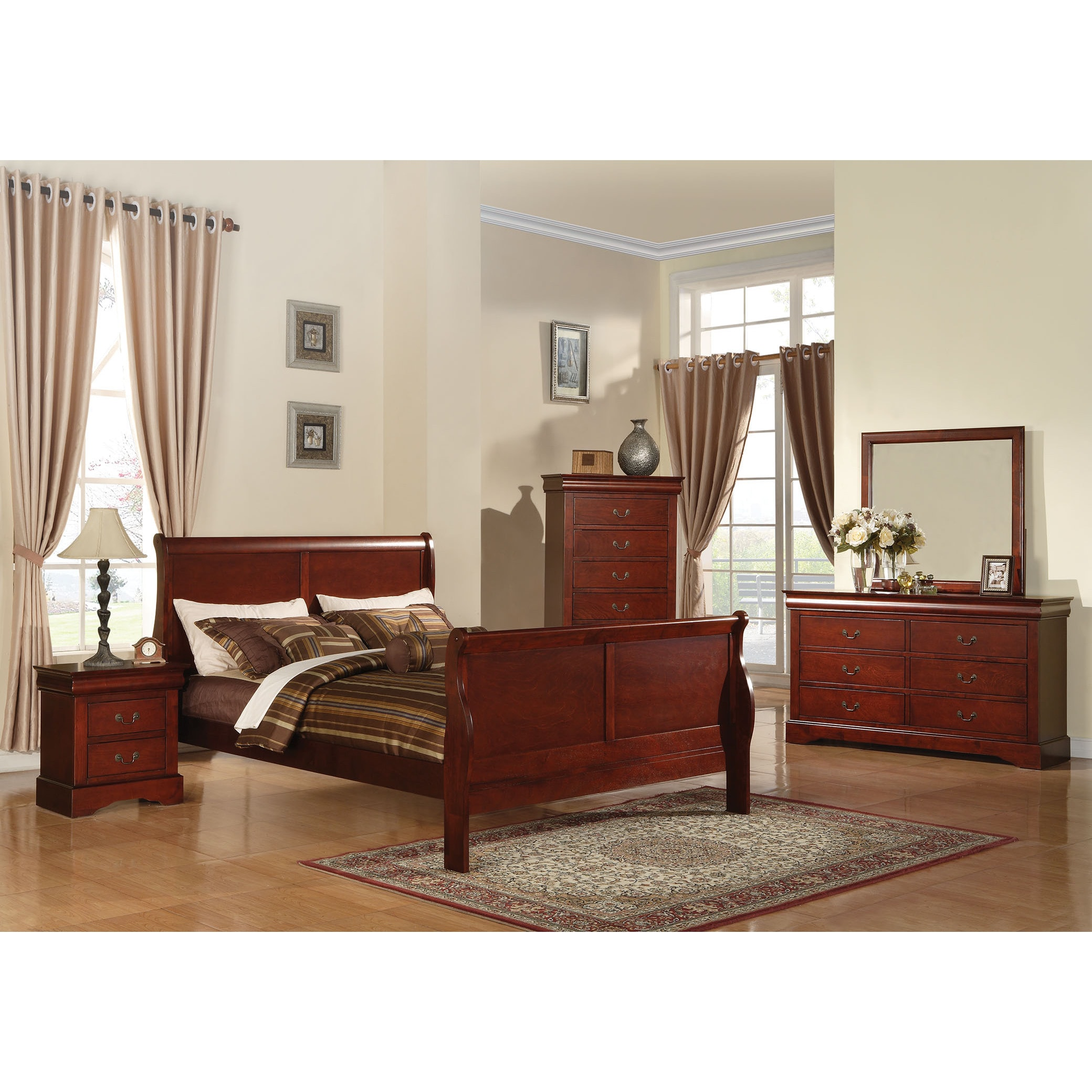 Acme Furniture Louis Philippe III 4 Piece Cherry Bedroom Set (5 Options  Available)