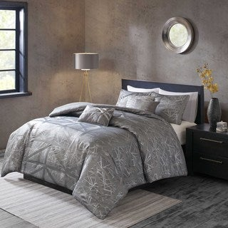 Madison Park Nico Grey 6-piece Duvet Cover Set