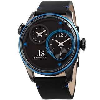 Joshua & Sons Men's Quartz Dual Time Stainless Steel Black Leather Strap Watch