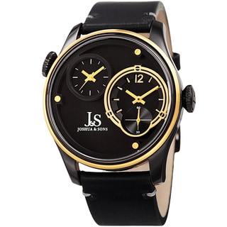 Joshua & Sons Men's Quartz Dual Time Stainless Steel Gold-Tone Leather Strap Watch