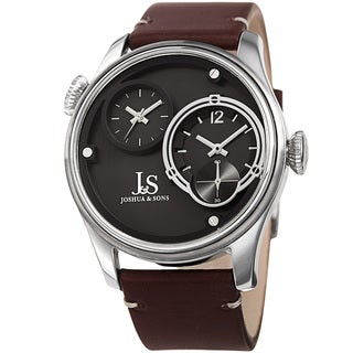 Joshua & Sons Men's Quartz Dual Time Stainless Steel Silver-Tone Leather Strap Watch