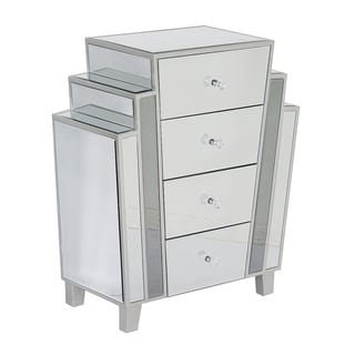 Heather Ann Marquee Art Deco Mirrored 4-Drawer Cabinet