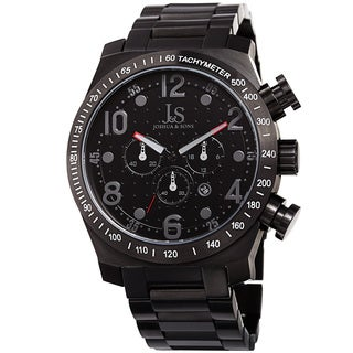 Joshua & Sons Men's Quartz Chronograph Tachymeter Stainless Steel Black Bracelet Watch