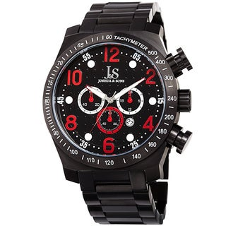 Joshua & Sons Men's Quartz Chronograph Tachymeter Stainless Steel Red Bracelet Watch