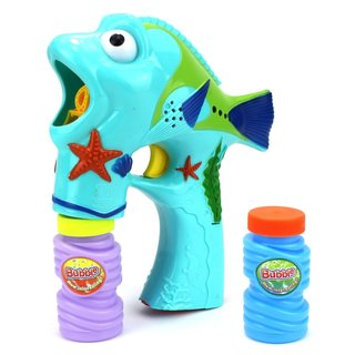 Velocity Toys Seashore Fun Fish Battery Operated Toy Bubble Blowing Gun