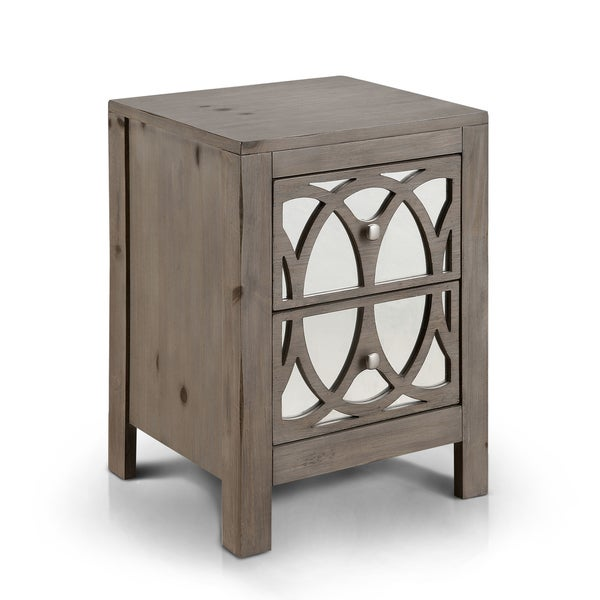 Superieur Furniture Of America Alessa Contemporary Mirrored Rustic 2 Drawer Nightstand
