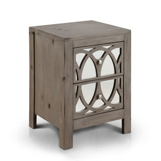 Furniture of America Alessa Contemporary Mirrored Rustic 2-drawer Nightstand