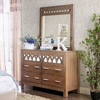 Furniture of America Alessa Contemporary 2-piece Rustic Dresser and Mirror Set