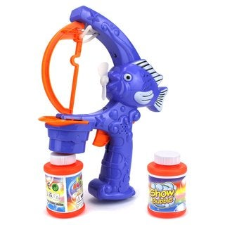 Velocity Toys Cool Cartoon Blue Super Fish Battery-operated Toy Bubble-blowing Gun