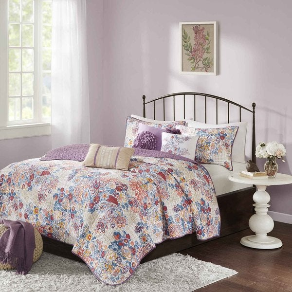 Madison Park Raylene Multi Cotton Quilted 6-piece Coverlet Set