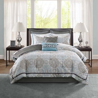 Madison Park Kerry Blue 12-piece Bed in a Bag with Sheet Set and Euro Shams