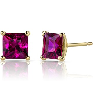 Oravo 14k Yellow Gold 3ct TGW Created Ruby Princess-cut Stud Earrings