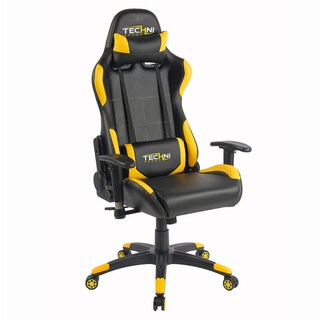 Racer Style Height Adjustable Sport Office PC Gaming Chair Yellow