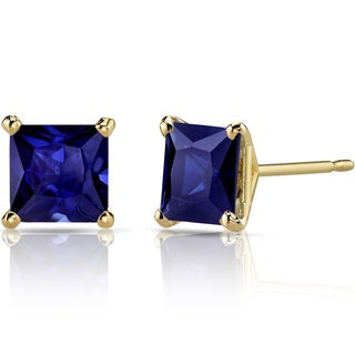 Oravo 14k Yellow Gold 2 3/4ct TGW Created Blue Sapphire Princess-cut Stud Earrings