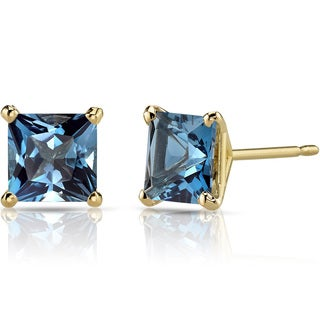Oravo 14k Yellow Gold 2 1/2ct TGW London Blue Topaz Princess-cut Stud Earrings