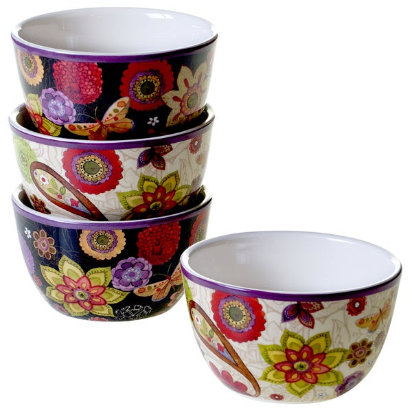 Certified International Coloratura Assorted Design Ice Cream Bowls (Set of 4)