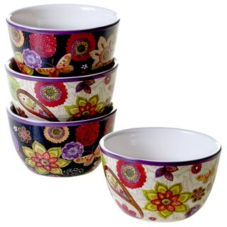Certified International Coloratura Assorted Design Ice Cream Bowls (Set of 4)
