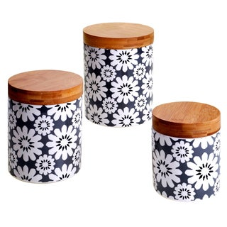 Certified International Chelsea Grey Floral 3-piece Canister Set With Bamboo Lids