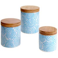 Certified International Chelsea Aqua Swirl 3-piece Canister Set with Bamboo Lids