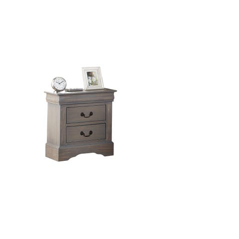 Louis Philippe III Antique Grey 2-Drawer Nightstand