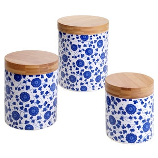 Certified International Chelsea Indigo Poppy 3-piece Ceramic Canister Set with Bamboo Lids