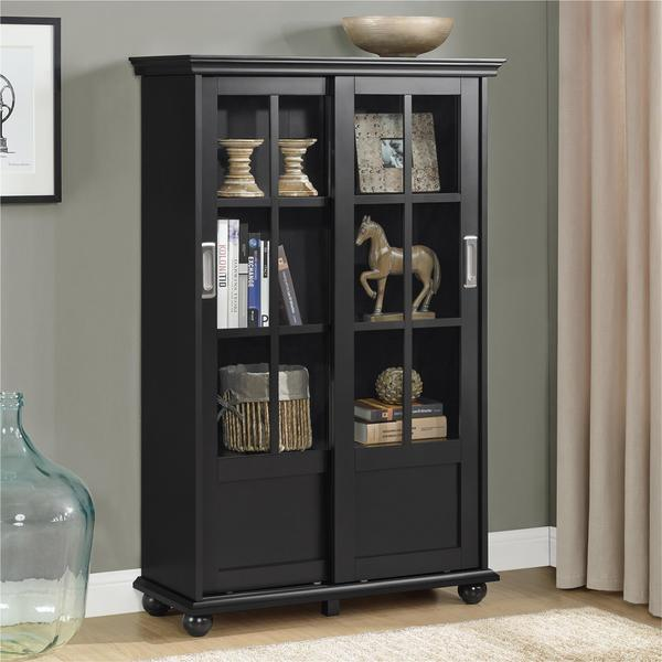 Good Ameriwood Home Aaron Lane Black Bookcase With Sliding Glass Doors